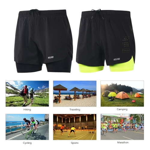 Arsuxeo Mens 2-in-1 Running Shorts Quick Drying Breathable Active Training Exercise Jogging Cycling Shorts with Longer LinerSports &amp; Outdoor<br>Arsuxeo Mens 2-in-1 Running Shorts Quick Drying Breathable Active Training Exercise Jogging Cycling Shorts with Longer Liner<br>