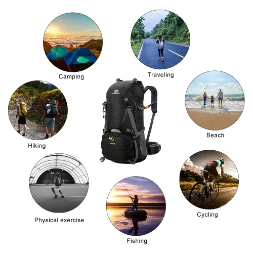 50+10L Waterproof Outdoor Sport Hiking Trekking Camping Travel Backpack Pack Mountaineering Climbing Knapsack with Rain CoverSports &amp; Outdoor<br>50+10L Waterproof Outdoor Sport Hiking Trekking Camping Travel Backpack Pack Mountaineering Climbing Knapsack with Rain Cover<br>