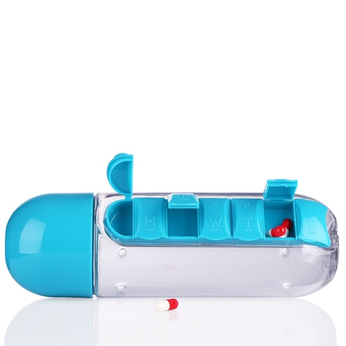 Portable 600ml Sports Plastic Creative Water Bottle Combine Daily Pill Boxes Organizer Drinking Bottles Leak-Proof Tumbler Cup OutSports &amp; Outdoor<br>Portable 600ml Sports Plastic Creative Water Bottle Combine Daily Pill Boxes Organizer Drinking Bottles Leak-Proof Tumbler Cup Out<br>