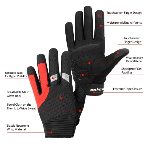 SAHOO Touch Screen Full Finger Cycling GlovesSports &amp; Outdoor<br>SAHOO Touch Screen Full Finger Cycling Gloves<br>