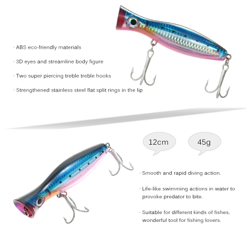 12cm / 45g Large Popper Lure Artificial Seal Lure 3D Eyes Hard Popper Fishing Lure with Hooks and Ring for Saltwater FreshwaterSports &amp; Outdoor<br>12cm / 45g Large Popper Lure Artificial Seal Lure 3D Eyes Hard Popper Fishing Lure with Hooks and Ring for Saltwater Freshwater<br>