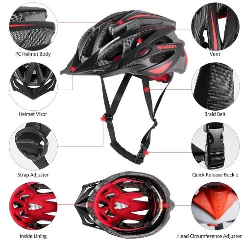 Moon Adjustable Bike Helmet Unisex Adult Cycling Helmet with Visor for Road Racing MTB Cycling