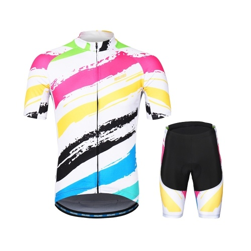 ARSUXEO Men's Cycling Clothing Set Short Sleeve Set Quick-dry Shirt 3D Cushion Padded Short Pants
