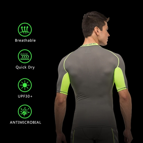 Mens Short Sleeve Compression Shirt Sport Fitness Bodybuilding Gym Running Reflective Top T-ShirtSports &amp; Outdoor<br>Mens Short Sleeve Compression Shirt Sport Fitness Bodybuilding Gym Running Reflective Top T-Shirt<br>