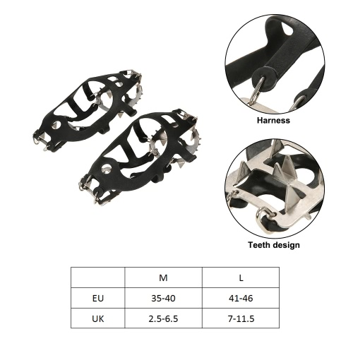 One Pair 18 Teeth Crampons Non-slip Shoes Cover Stainless Steel Crampon Traction Device Outdoor Ski Ice Snow Hiking ClimbingSports &amp; Outdoor<br>One Pair 18 Teeth Crampons Non-slip Shoes Cover Stainless Steel Crampon Traction Device Outdoor Ski Ice Snow Hiking Climbing<br>