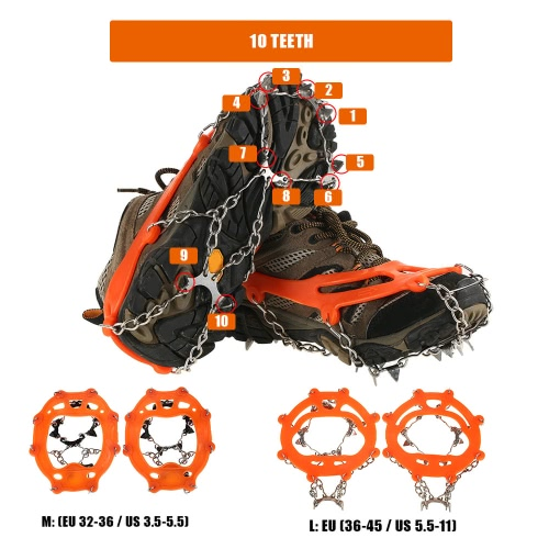 1 Pair of 10 Teeth Crampons Non-slip Shoes Cover Stainless Steel Anti Slip Ice Cleats Shoe Boot Grips Traction Snow Spikes DeviceSports &amp; Outdoor<br>1 Pair of 10 Teeth Crampons Non-slip Shoes Cover Stainless Steel Anti Slip Ice Cleats Shoe Boot Grips Traction Snow Spikes Device<br>