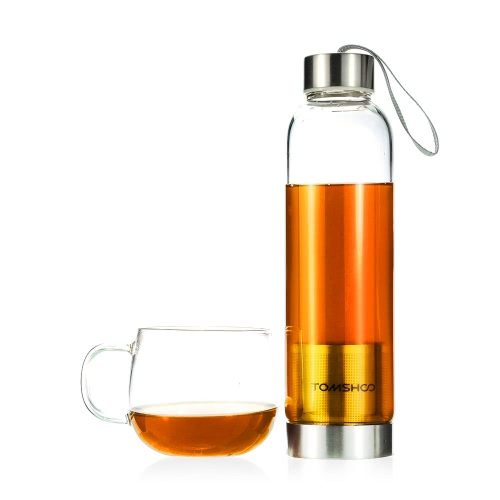 TOMSHOO Outdoor Sport Glass Water Bottle with Tea Filter Infuser Protective Bag Sleeve 550ml Eco-FriendlySports &amp; Outdoor<br>TOMSHOO Outdoor Sport Glass Water Bottle with Tea Filter Infuser Protective Bag Sleeve 550ml Eco-Friendly<br>