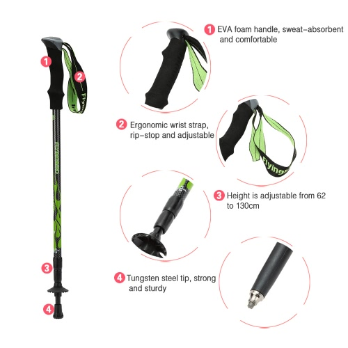 Carbon Fiber Lightweight Trekking Pole Adjustable Telescopic Hiking Walking Stick 3 SectionSports &amp; Outdoor<br>Carbon Fiber Lightweight Trekking Pole Adjustable Telescopic Hiking Walking Stick 3 Section<br>