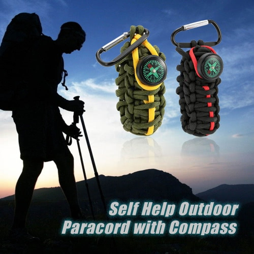 Paracord for Emergency with Compass Self Help Outdoor Camping Hiking Emergency ToolSports &amp; Outdoor<br>Paracord for Emergency with Compass Self Help Outdoor Camping Hiking Emergency Tool<br>