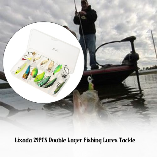 Lixada 29PCS Double Layer Fishing Lures Baits Tackle Box Hard Lures Crankbaits Spoon Lures Popper Crank Tackle Box and More FishinSports &amp; Outdoor<br>Lixada 29PCS Double Layer Fishing Lures Baits Tackle Box Hard Lures Crankbaits Spoon Lures Popper Crank Tackle Box and More Fishin<br>