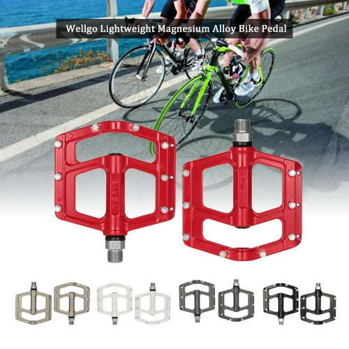 "Wellgo Lightweight Magnesium Alloy Bicycle Bike Pedal Wide Platform CR-MO Spindle 9/16"" Thread Bike Flat Pedals AccessoriesSports &amp; Outdoor<br>Wellgo Lightweight Magnesium Alloy Bicycle Bike Pedal Wide Platform CR-MO Spindle 9/16"" Thread Bike Flat Pedals Accessories<br>"
