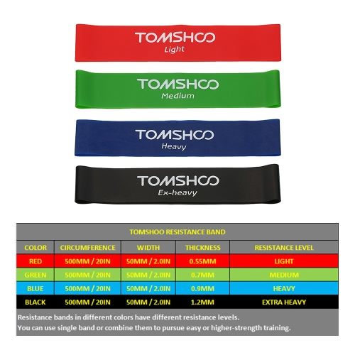 TOMSHOO Set of 4 Exercise Resistance Loop Bands Latex Gym Strength Training Loops Bands Workout Bands Physical Therapy Home FitnesSports &amp; Outdoor<br>TOMSHOO Set of 4 Exercise Resistance Loop Bands Latex Gym Strength Training Loops Bands Workout Bands Physical Therapy Home Fitnes<br>