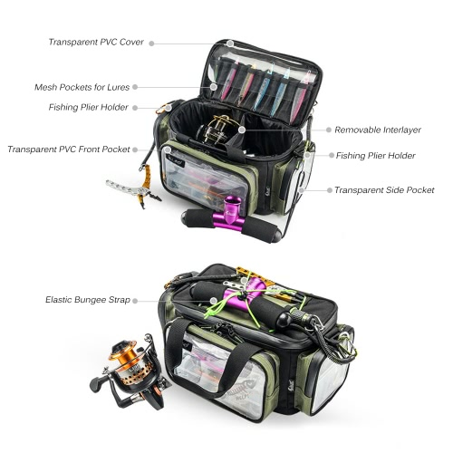 Multifunctional Fishing Tackle Bag Outdoor Sports Fishing Shoulder Bag Lures Tackle Box Gear Utility Storage Bag