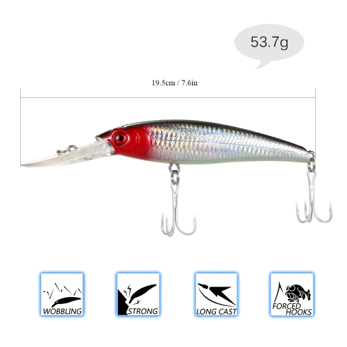 19.5cm 53.7g Large Minnow Lure Artificial Fishing Lure 3D Eyes Hard Minnow Fishing Lure with Hooks and Ring for Saltwater FreshwatSports &amp; Outdoor<br>19.5cm 53.7g Large Minnow Lure Artificial Fishing Lure 3D Eyes Hard Minnow Fishing Lure with Hooks and Ring for Saltwater Freshwat<br>