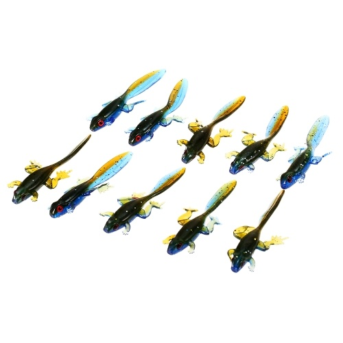 10Pcs Soft 3.7g / 8cm Fishy Frog Tadpole Lure
