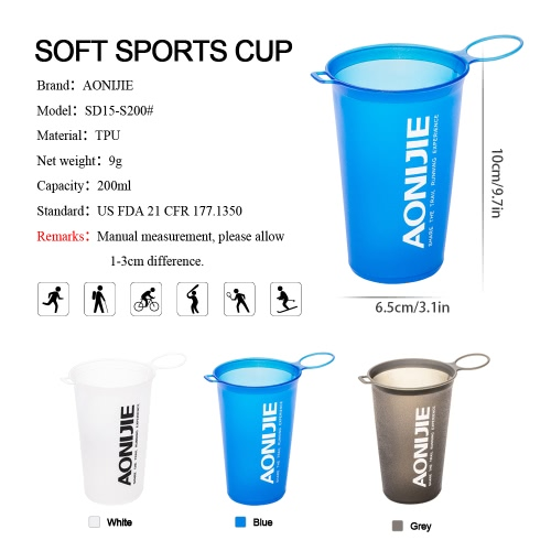 AONIJIE 200ml BPA Free Foldable Soft Water Cup for Outdoor Sports Marathon Cycling Camping RunningSports &amp; Outdoor<br>AONIJIE 200ml BPA Free Foldable Soft Water Cup for Outdoor Sports Marathon Cycling Camping Running<br>
