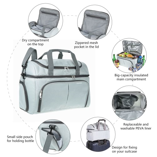 TOMSHOO Thermal Insulated Cooler Lunch Bag Food Box Handbag Outdoor Picnic Storage Bag 20LSports &amp; Outdoor<br>TOMSHOO Thermal Insulated Cooler Lunch Bag Food Box Handbag Outdoor Picnic Storage Bag 20L<br>