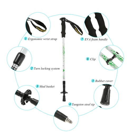 TOMSHOO 1 Pair Trekking Pole Adjustable Height Antishock Telescopic Hiking Walking Stick 3 SectionSports &amp; Outdoor<br>TOMSHOO 1 Pair Trekking Pole Adjustable Height Antishock Telescopic Hiking Walking Stick 3 Section<br>