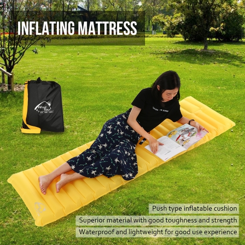 Outdoor Inflating Sleeping Pad Cusion Mattress Backpacking Camping Travel Air Support Rectangle Inflatable Sleeping Pad with PumpSports &amp; Outdoor<br>Outdoor Inflating Sleeping Pad Cusion Mattress Backpacking Camping Travel Air Support Rectangle Inflatable Sleeping Pad with Pump<br>