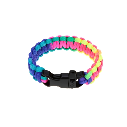 Rainbow-colored Woven Bracelet Outdoor Emergency Quick Release Survival Bracelet with Whistle BuckleSports &amp; Outdoor<br>Rainbow-colored Woven Bracelet Outdoor Emergency Quick Release Survival Bracelet with Whistle Buckle<br>