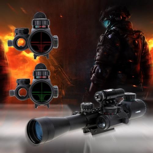 3 9X40EG 赤、緑点灯戦術的なライフル銃望遠照準器 + 赤色レーザー視力 + ホログラム ドット光景