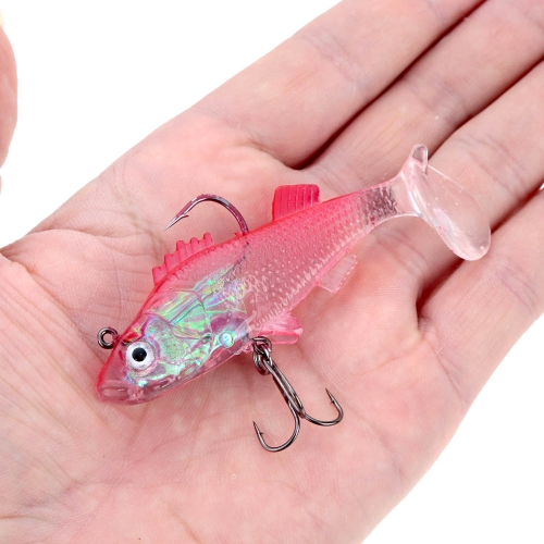 2Pcs 8cm 15g Transparent T Tail Lead Fishing Lure Soft Bait with One Treble Hook One Single HookSports &amp; Outdoor<br>2Pcs 8cm 15g Transparent T Tail Lead Fishing Lure Soft Bait with One Treble Hook One Single Hook<br>