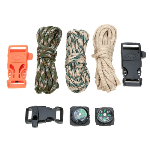 3Pcs 10FT Paracord 7 Strand Parachute Cord with Flint Stone Whistle Buckle Mini CompassSports &amp; Outdoor<br>3Pcs 10FT Paracord 7 Strand Parachute Cord with Flint Stone Whistle Buckle Mini Compass<br>