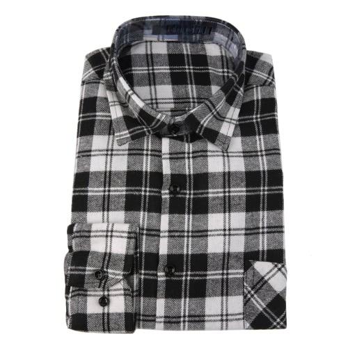 Button Plaid Shirt Long Sleeve Flannel Plaid Casual Shirt for Men