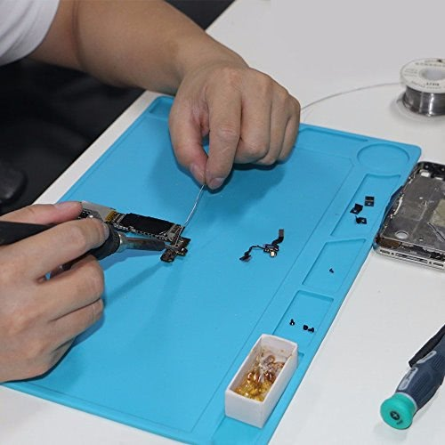 13.4 * 9.1 inch Silicone Heat Insulation Soldering Iron Maintenance Mat Electronics Disassembly BGA Soldering Repair Platform Pad with Ruler Screw Notches