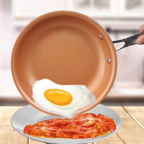 Sartén antiadherente de cobre redondo con revestimiento de cerámica y hornos de inducción de cocina Olla de cocina de latón 9,5 pulgadas