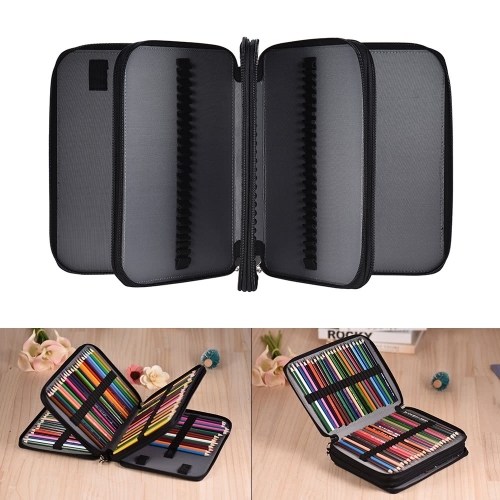 180 Slots Color Pencil Case Extra-Large Capacity Bag PU Leather Zippered Portable with Handle Strap