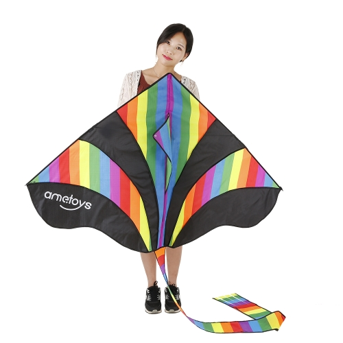 Ametoys 290cm*140cm Large Size Huge Rainbow Kite with 50m Line Delta Kite