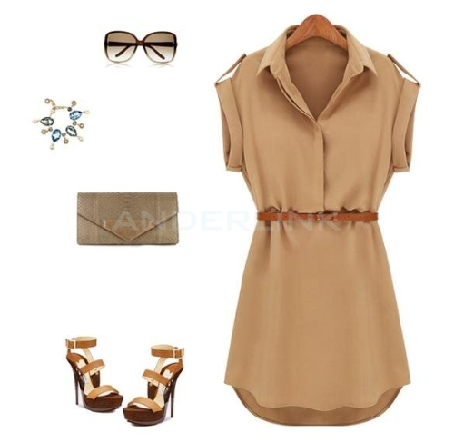 New Fashion Womens Cap Sleeve Stretch Chiffon Casual Shirt Mini Dress With BeltApparel &amp; Jewelry<br>New Fashion Womens Cap Sleeve Stretch Chiffon Casual Shirt Mini Dress With Belt<br>
