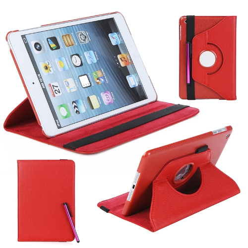 360 Degrees Rotating Protective Leather Case Skin Cover Stand for Apple iPad Mini Red with Stylus Pen &amp; Screen Protector &amp; CleaninCellphone &amp; Accessories<br>360 Degrees Rotating Protective Leather Case Skin Cover Stand for Apple iPad Mini Red with Stylus Pen &amp; Screen Protector &amp; Cleanin<br>
