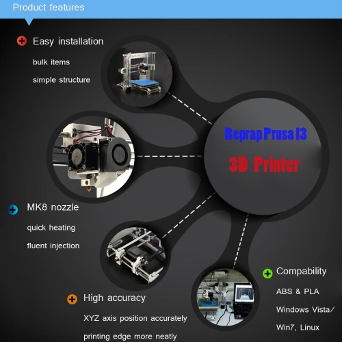Reprap Prusa I3 3D Printer Machine DIY Kit Injection Molded TF Card High Accuracy ABS/PLA Z605 for Artistic Design Education IndusComputer &amp; Stationery<br>Reprap Prusa I3 3D Printer Machine DIY Kit Injection Molded TF Card High Accuracy ABS/PLA Z605 for Artistic Design Education Indus<br>