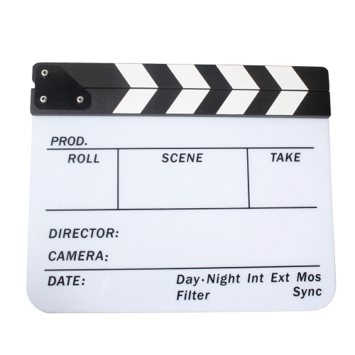 Acrylic Clapboard Dry Erase Director Film Movie Clapper Board Slate 9.6 * 11.7 with White/Black SticksCameras &amp; Photo Accessories<br>Acrylic Clapboard Dry Erase Director Film Movie Clapper Board Slate 9.6 * 11.7 with White/Black Sticks<br>