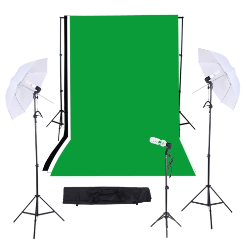 Photography/Video Studio Triple Lighting Kit with 10ft * 12ft Black White Green Muslins Backdrops Background Support System with CCameras &amp; Photo Accessories<br>Photography/Video Studio Triple Lighting Kit with 10ft * 12ft Black White Green Muslins Backdrops Background Support System with C<br>