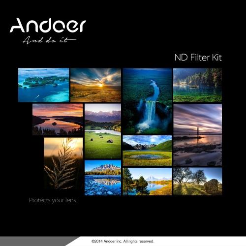 Andoer 58mm Fader ND Filter Kit Set de filtro de fotografía de densidad neutra (ND2 ND4 ND8) para Nikon Canon Rebel T5i T4i EOS 1100D 650D 600D DSLRs