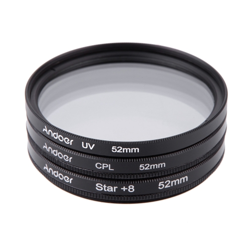 Andoer 52mm Filter  Set UV + CPL + Star 8-Point Filter Kit with Case for Canon Nikon Sony DSLR Camera LensCameras &amp; Photo Accessories<br>Andoer 52mm Filter  Set UV + CPL + Star 8-Point Filter Kit with Case for Canon Nikon Sony DSLR Camera Lens<br>