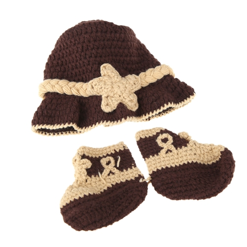 Baby Infant Trilby Fedora Hat Cap &amp; Shoes Crochet Knitting Costume Soft Adorable Clothes Photo Photography Props for NewbornsCameras &amp; Photo Accessories<br>Baby Infant Trilby Fedora Hat Cap &amp; Shoes Crochet Knitting Costume Soft Adorable Clothes Photo Photography Props for Newborns<br>