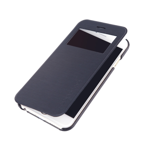 4.7「アップルの iPhone 6 の dodocool フリップ PU レザー超スリムなケース カバー シングル ビュー ウィンドウ ブラック