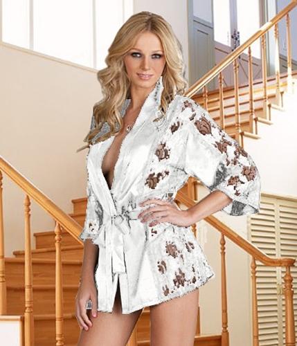 Sexy Women Semi-Sheer Cardigan Lace Mesh Three Quarter Sleeve Thong Black/White