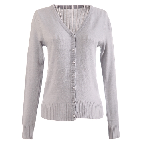 Women Pearl Button V Neck Knitted Sweater CardiganApparel &amp; Jewelry<br>Women Pearl Button V Neck Knitted Sweater Cardigan<br>