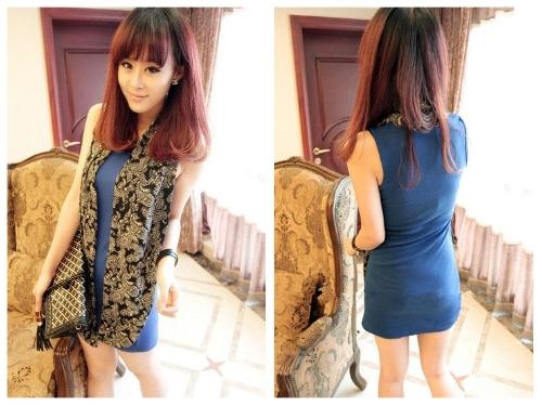 New Fashion Women Lady Vest Dress Slim Fit Mini Dress Tank Dress with Scarf Royal BlueApparel &amp; Jewelry<br>New Fashion Women Lady Vest Dress Slim Fit Mini Dress Tank Dress with Scarf Royal Blue<br>
