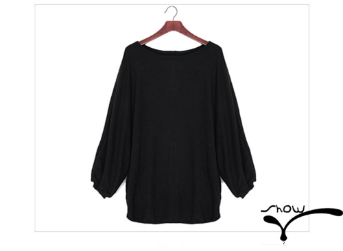 Casual Women Slouchy Knit Shirt Scoop Neck Batwing Sleeve Stretchy Loose Pullover BlackApparel &amp; Jewelry<br>Casual Women Slouchy Knit Shirt Scoop Neck Batwing Sleeve Stretchy Loose Pullover Black<br>