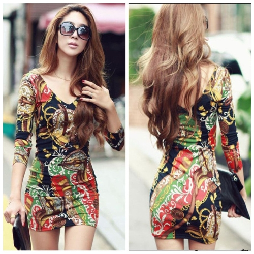 New Sexy Women Mini Dress Printed Long Sleeve Deep V-neck Tunic Tops Sheath One-piece Clubwear Party Dress Mixed ColorApparel &amp; Jewelry<br>New Sexy Women Mini Dress Printed Long Sleeve Deep V-neck Tunic Tops Sheath One-piece Clubwear Party Dress Mixed Color<br>