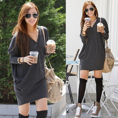 New Casual Women T Shirt Batwing Sleeve V-neck Loose Button Tops Blouse GreyApparel &amp; Jewelry<br>New Casual Women T Shirt Batwing Sleeve V-neck Loose Button Tops Blouse Grey<br>