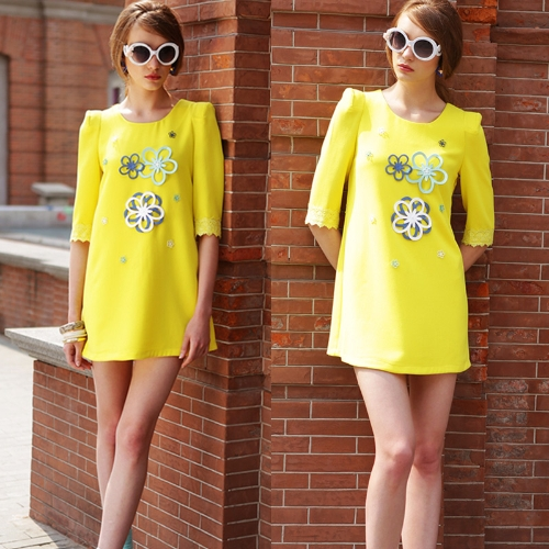 Fashion Women Mini Dress Appliques Crew Neck Lace 3/4 Sleeve Straight Dress YellowApparel &amp; Jewelry<br>Fashion Women Mini Dress Appliques Crew Neck Lace 3/4 Sleeve Straight Dress Yellow<br>