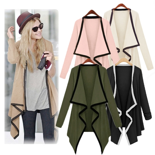 New Fashion Women Asymmetric Outerwear Contrast Coat Long Sleeve Cape Cardigan TopsApparel &amp; Jewelry<br>New Fashion Women Asymmetric Outerwear Contrast Coat Long Sleeve Cape Cardigan Tops<br>