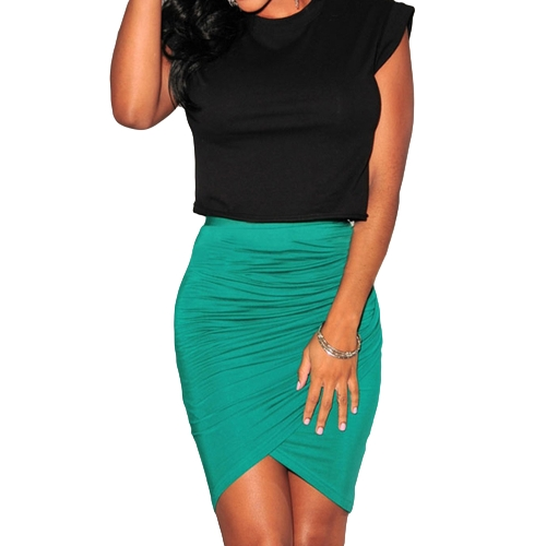 New Fashion Women Skirt Stretch Draped High Waist Asymmetric Ruched Sexy Mini Pencil Skirt Black/Green/PinkApparel &amp; Jewelry<br>New Fashion Women Skirt Stretch Draped High Waist Asymmetric Ruched Sexy Mini Pencil Skirt Black/Green/Pink<br>